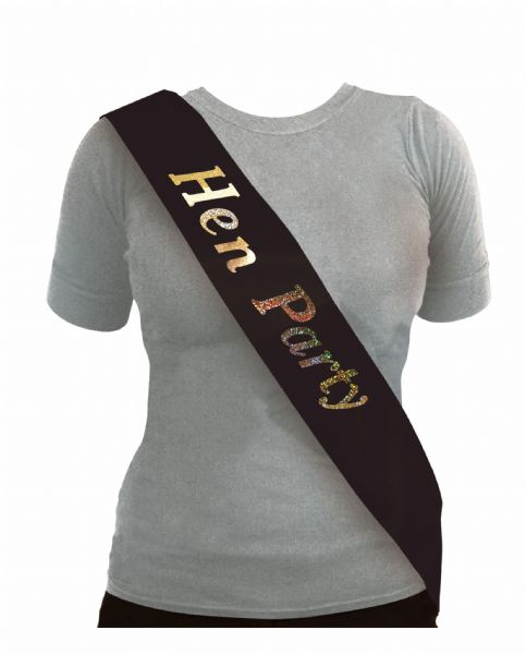 Black & Silver Hen Night Sash